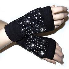 Guanti senza dita donna strass cristallo nero art D0573