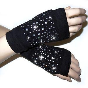 Lansue guanti lunghi senza dita con strisce orizzontali muffole