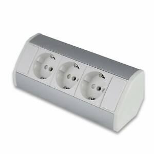 Möbel-Steckdose weiß Aluminium 3x Schuko Steckdosenleiste Unterbau Küche Büro