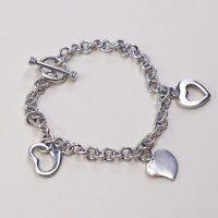 "7.25"" Vintage Sterling 925 Silver Handmade Bracelet, heart charm W/ Toggle Closu"