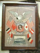 Antique Japanese Silk Embroidery Navy Memorabilia Eage Flags & Boat