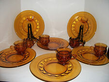Kings Crown Snack Plates Cups Amber Thumbprint 12 Pc Indiana Vintage