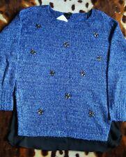 New Lovely JESSICA SIMPSON UK10 Size S Blue Embellished Lash Sweater Jumper $89