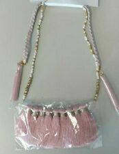 Stone Faux Leather Nwt Tassel Necklace Pink Glass