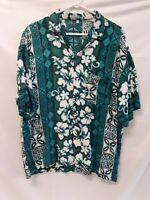 Men's Vintage Hawaiian Shirt Classic Floral Tropical Tiki Teal Button Up LARGE