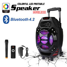 "New 18"" BLUETOOTH Portable KARAOKE PARTY PA DJ SPEAKER SYSTEM w/Wireless Mic"