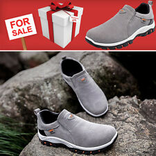 MENS RUNNING TRAINERS CASUAL LACELESS GYM WALKING SPORTS GREY SHOES UK SIZE 8.5