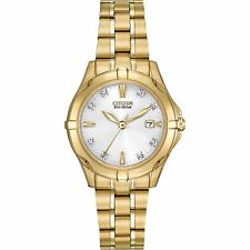 CITIZEN WOMEN'S $350 ECO-DRIVE DIAMOND GOLD WATCH, WHITE DIAL, DATE  EW1932-54A