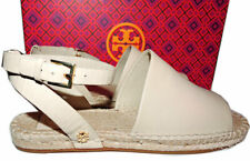 Tory Burch Ivory Leather Espadrille Flats Sandals Loafers Mules 7 Ankle Strap
