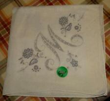 """Vintage Off-White Linen """"M"""" & Flower Appenzell embroidery satin stitch hanky #52"""