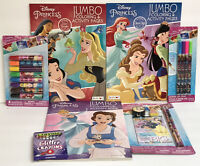 7 Disney Princess Jumbo Coloring Activity Book Glitter Pen Crayons Markers Belle