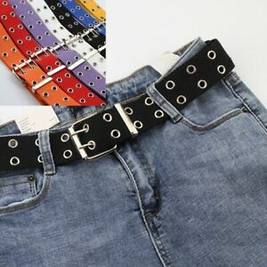 Canvas Double Grommet Holes Belt 2-Row Studded Men Women Belts Band Gift