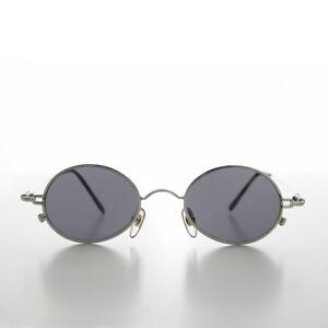 Ovalado Metal Gafas 90s Vintage Gafas de Sol Plata / Gris Lente - Greco