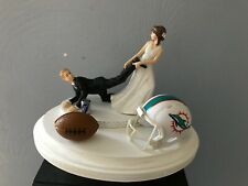 Miami Dolphins Cake Topper Bride Groom Wedding day NFL Funny Football Theme