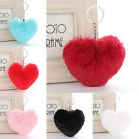 Love Heart Pompom Keyring Keychain Handbag Pendant Faux Fur Car Hanging Decors