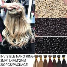 200-1000pcs Nano Rings Loop Silicone Lined Micro Beads Hair Extensions US Stock