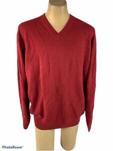 Daniel Bishop Men's XXL Cashmere Sweater Dark Red V Neck NWT E19
