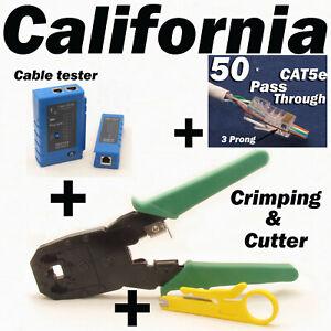 Cable Tester Crimper RJ45 CAT5e 50pcs Pass Through Network Cable Connector Plug