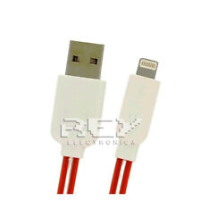Cable Plano Compatible para iPhone iPad iPod Datos-Carga Rojo con Led 1m v281