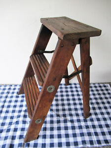 "Antique 3-Step Stool Folding Wood, 22"" Tall 15"" Base Width, Vtg Primitive Ladder"