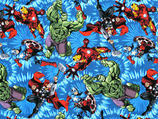 FAT QUARTER  MARVEL AVENGER UNITED COMICS  SUPERHEROS HERO 100% COTTON FABRIC FQ