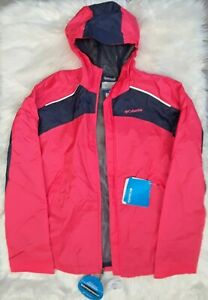 COLUMBIA Girls WET REFLECT Laser Red RAIN JACKET size XL [RG3409] *New w/Tags