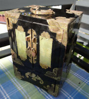 Jewelry Box Jade Nephrite Jadeite Flowers Casket Drawer Box Trinket Case Chinese