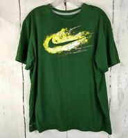 Mens NIKE Short Sleeve L Green T-Shirt Dri-Fit Swoosh Lightning Graphic Tee