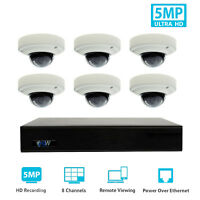 8 Channel 8MP 4K NVR 6 X 5MP 1920P PoE IP Cam Home Dome Security Camera System