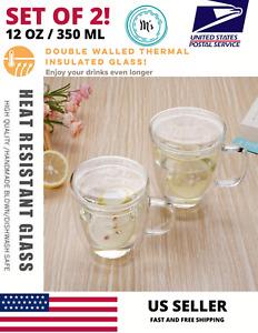 Set of 2 Strong Clear Glass Double Wall Coffee Mug Tea LatteCup 350ml/12oz H