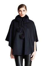 NEW Womens Belle Fare Fox Fur Trim Wool Cape Wrap Shawl Scarf