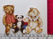 New 3 Teddy panda Bear family cartoon iron on adhesive fabric appliques patch