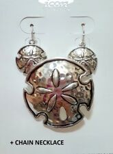 Silver Sand Dollar Pendant Metal Earrings Set With Chain Nautical Statement