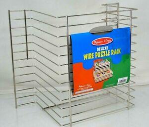 MELISSA DOUG DELUXE METAL WIRE WOODEN PUZZLE RACK ORGANIZER - 12 Puzzles Storage