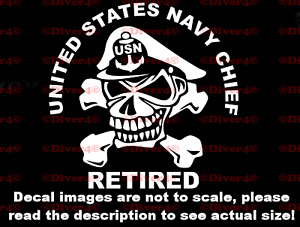 US Navy Chief Retired Car Van Truck Decal Bumper Sticker Made in the USA USN