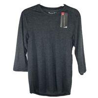 NEW Under Armour Mens Small Threadborne 3/4 Sleeve Gray Shirt Tee 1320839 $45