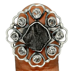 Russian Shungite & Herkimer Diamond 925 Silver Ring Jewelry s.8.5 BR74525 235K