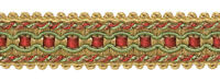 "Gold Wine Mint Green 1"" Gimp Braid Trim Holiday Splendor [By The Yard]"