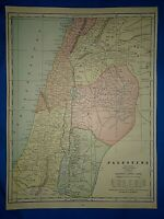 Vintage 1892 MAP ~ PALESTINE - SAMARIA - JUDEA - DECAPOL ~ Old Antique Original