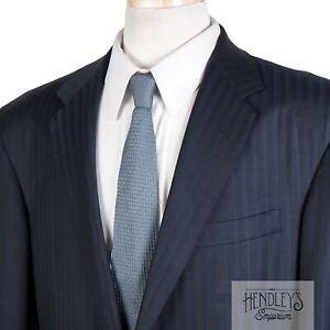 OXXFORD Suit Jacket 44 L Navy Cobalt Blue Tonal Stripe Scabal 150s Wool 2013