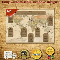 Personalised Travel World Map Wedding Table Plan / Seating Plan Large A1 A2 A3