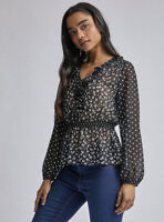 Dorothy Perkins Petite Mix And Match Ruffle Long Sleeve Top - Black Size 8