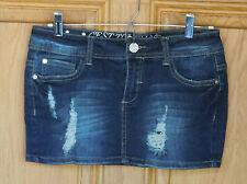 C'est Toi Ladies Size S Distressed/Destroyed Blue Denim Mini Skirt