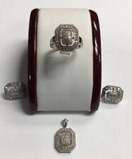 Ladies White Gold Diamond Ring Earrings Pendant Set