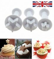 3 Piece Set Star Fondant Cake Cookies Icing Decorating Tool Plunger Cutter