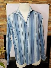 Ted Baker Men's Long Sleeve Shirt Size L 40 Blue Striped Collared