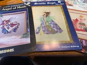 Lot Of 3 Cross Stitch Charts, Mar Bek Angels, Dimensions Angel Of Music , Flower