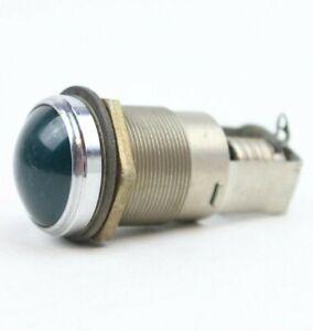(1) Vintage Dialco Round Indicator Light Large Bulb Green Lens 75W 125V
