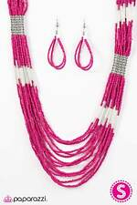 ~Let It BEAD~ Pink Seed Bead Necklace & Earrings Paparazzi Jewelry