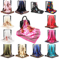 Printed Satin-Silk Wrap Square Scarf Head Shawl Scarves Women Gift Acces